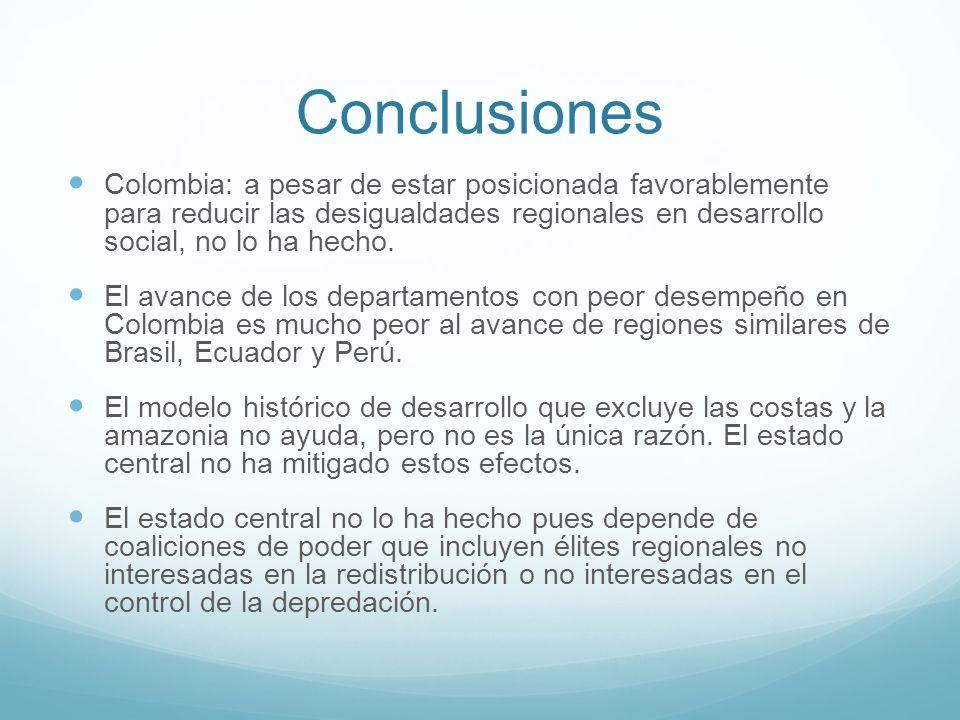 Conclusiones Colombia: a pesar de estar posicionada favorablemente para reducir las desigualdades regionales en desarrollo social, no lo ha hecho.