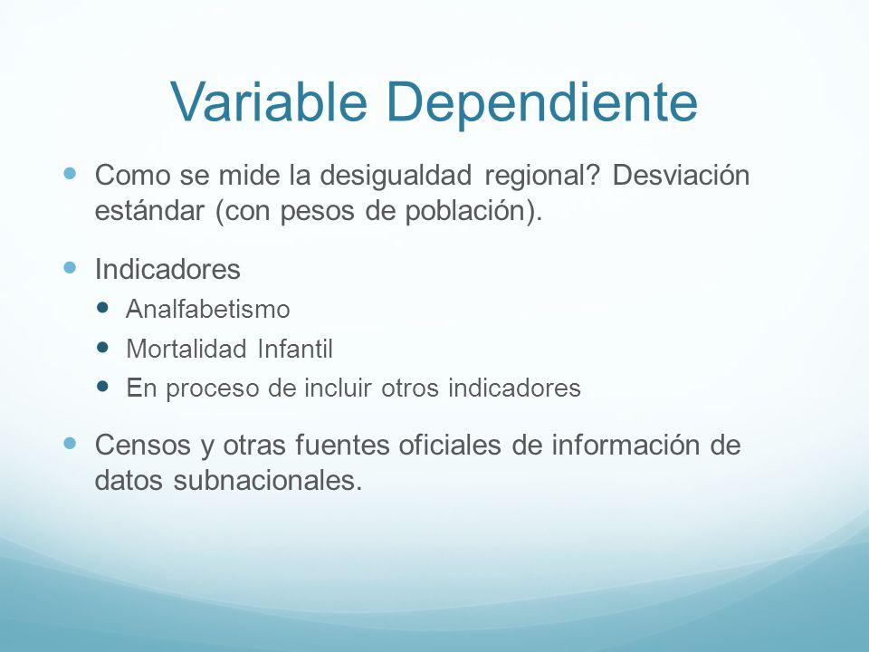 Variable Dependiente Como se mide la desigualdad regional Desviación estándar (con pesos de población).