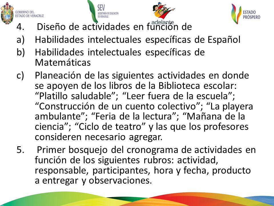 4. Diseño de actividades en función de