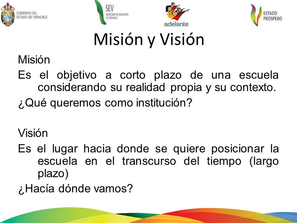 Misión y Visión Misión. Es el objetivo a corto plazo de una escuela considerando su realidad propia y su contexto.