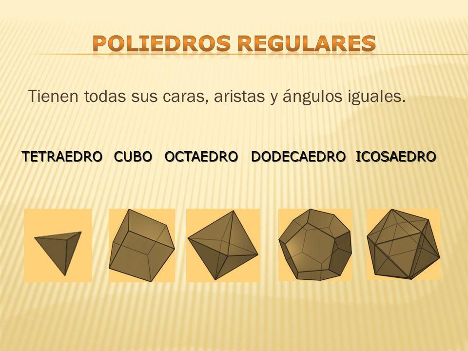 Poliedros regulares Tienen todas sus caras, aristas y ángulos iguales.