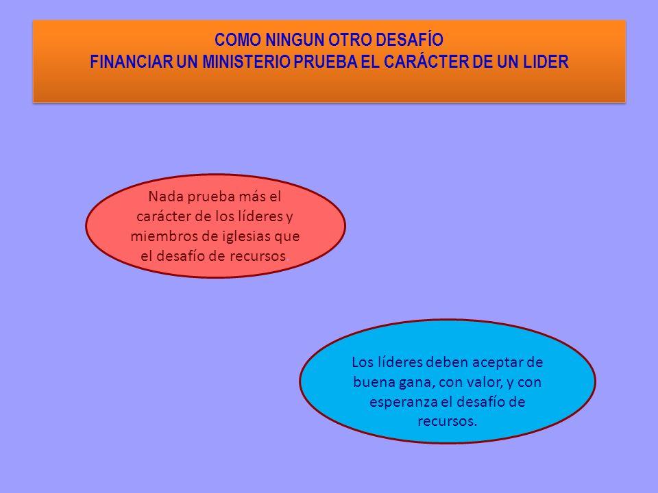 COMO NINGUN OTRO DESAFÍO FINANCIAR UN MINISTERIO PRUEBA EL CARÁCTER DE UN LIDER