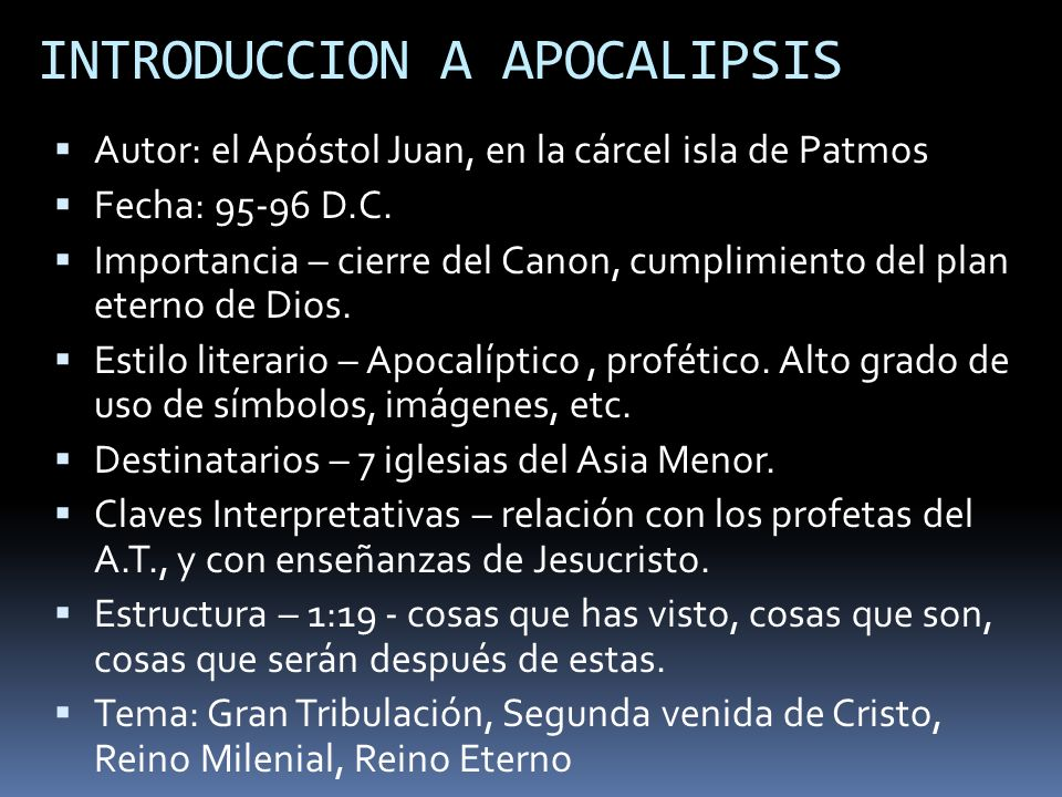 INTRODUCCION A APOCALIPSIS