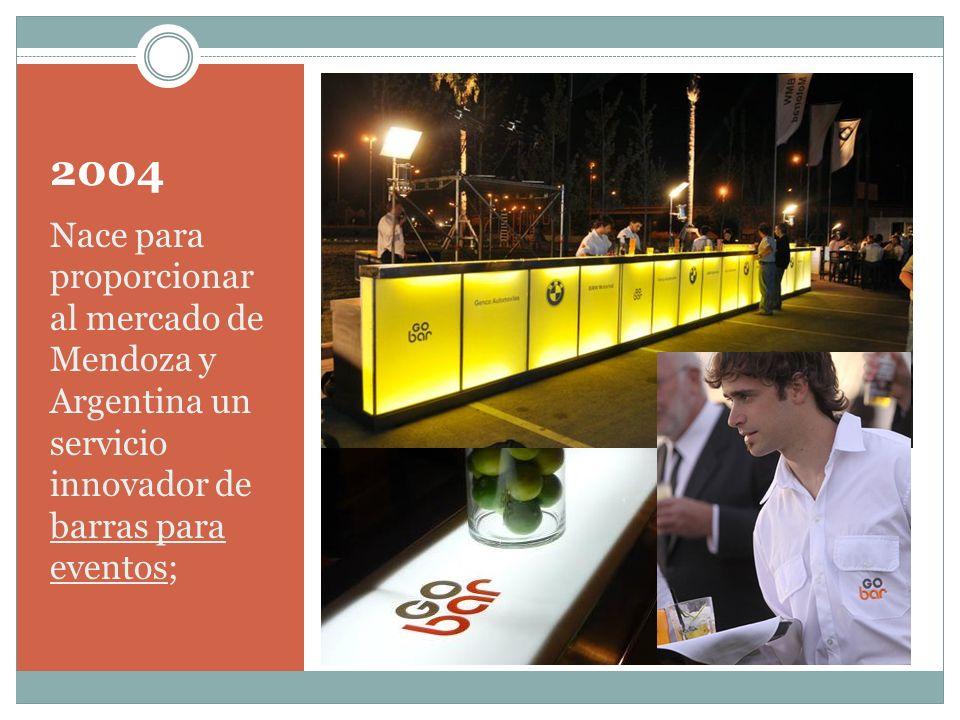2004Nace para proporcionar al mercado de Mendoza y Argentina un servicio innovador de barras para eventos;