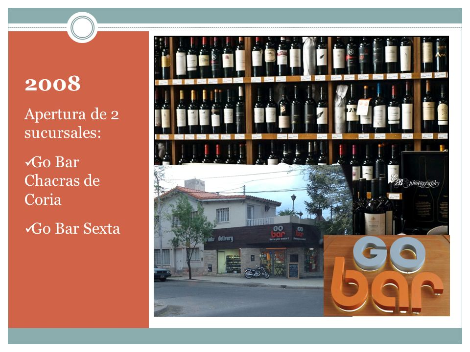 2008 Apertura de 2 sucursales: Go Bar Chacras de Coria Go Bar Sexta