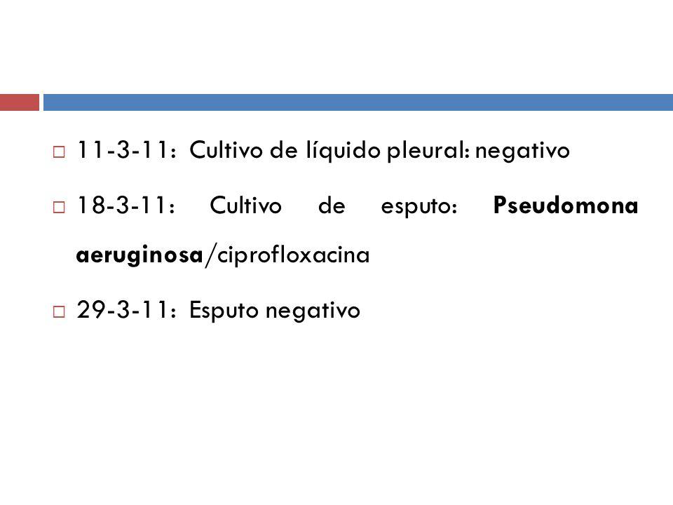 11-3-11: Cultivo de líquido pleural: negativo
