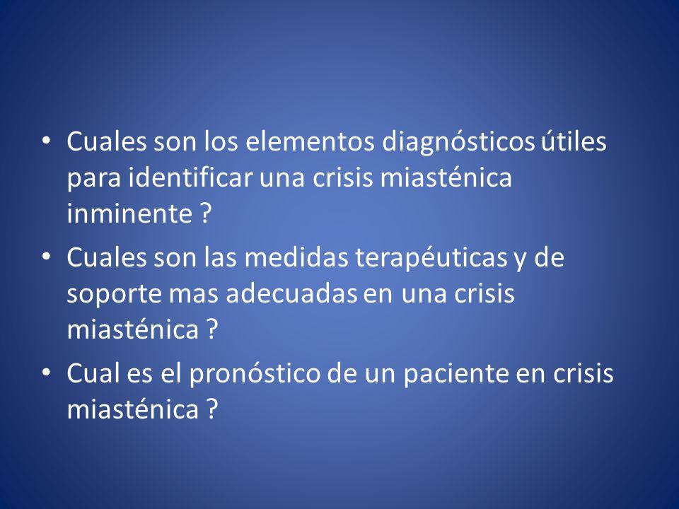 Cuales son los elementos diagnósticos útiles para identificar una crisis miasténica inminente