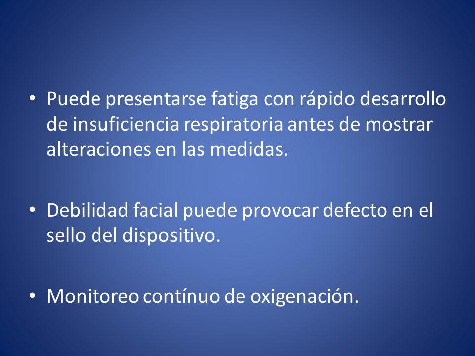 Puede presentarse fatiga con rápido desarrollo de insuficiencia respiratoria antes de mostrar alteraciones en las medidas.