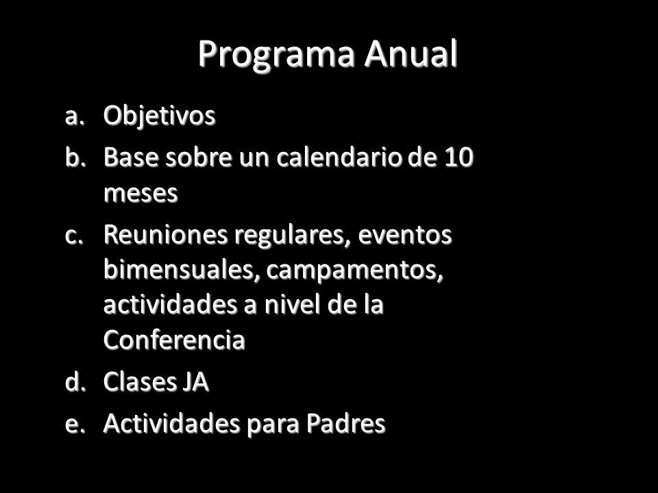 Programa Anual Objetivos Base sobre un calendario de 10 meses