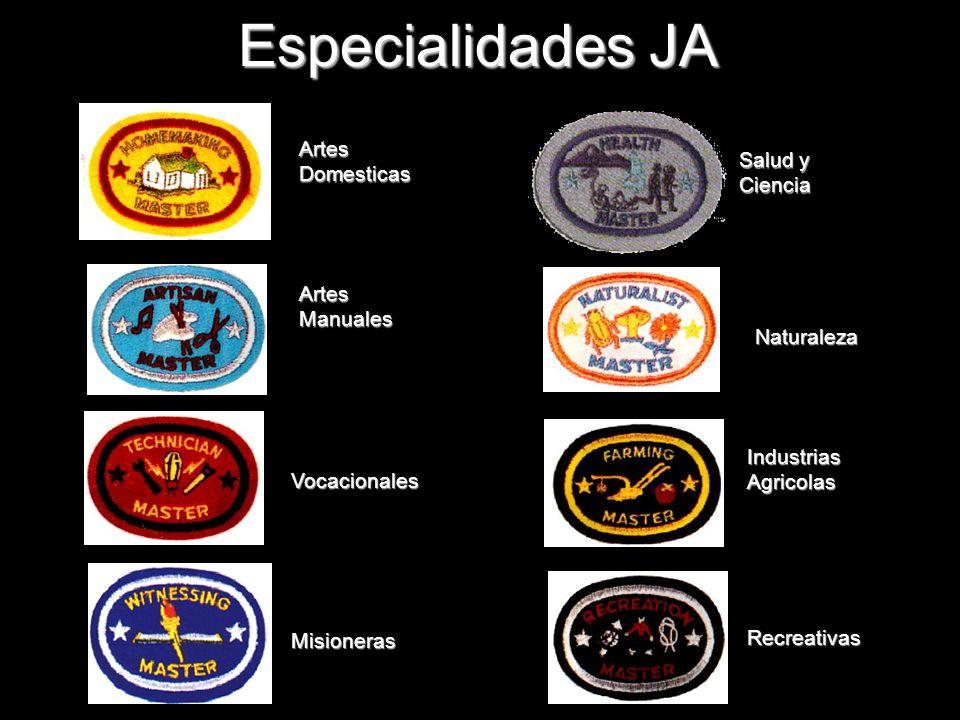 Especialidades JA Artes Domesticas Salud y Ciencia Artes Manuales