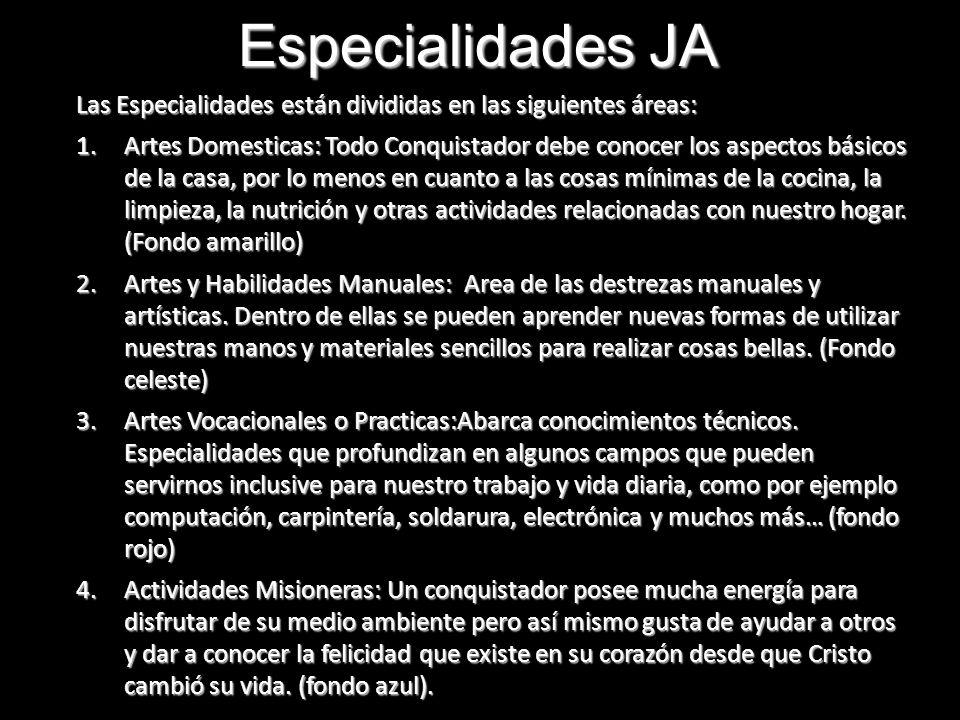 Especialidades JA Las Especialidades están divididas en las siguientes áreas: