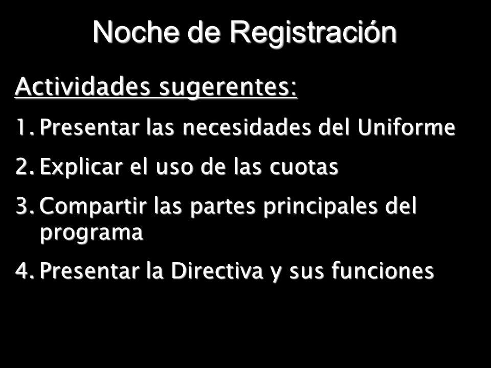 Noche de Registración Actividades sugerentes:
