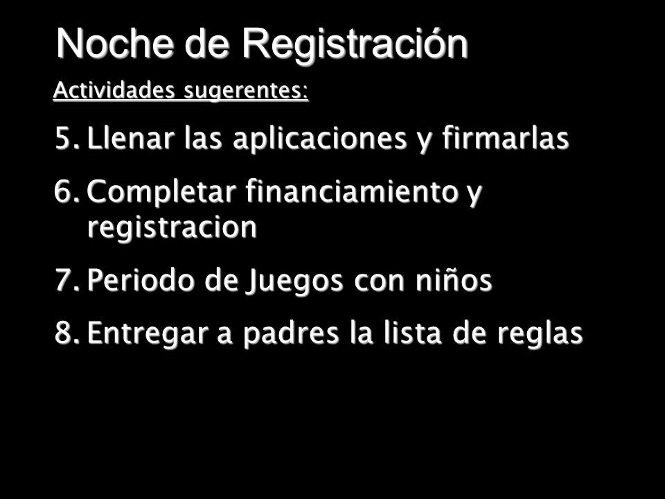 Noche de Registración Llenar las aplicaciones y firmarlas