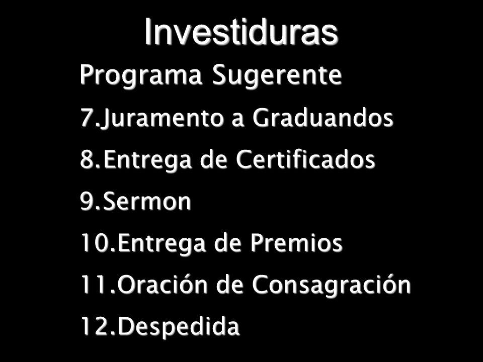Investiduras Programa Sugerente Juramento a Graduandos