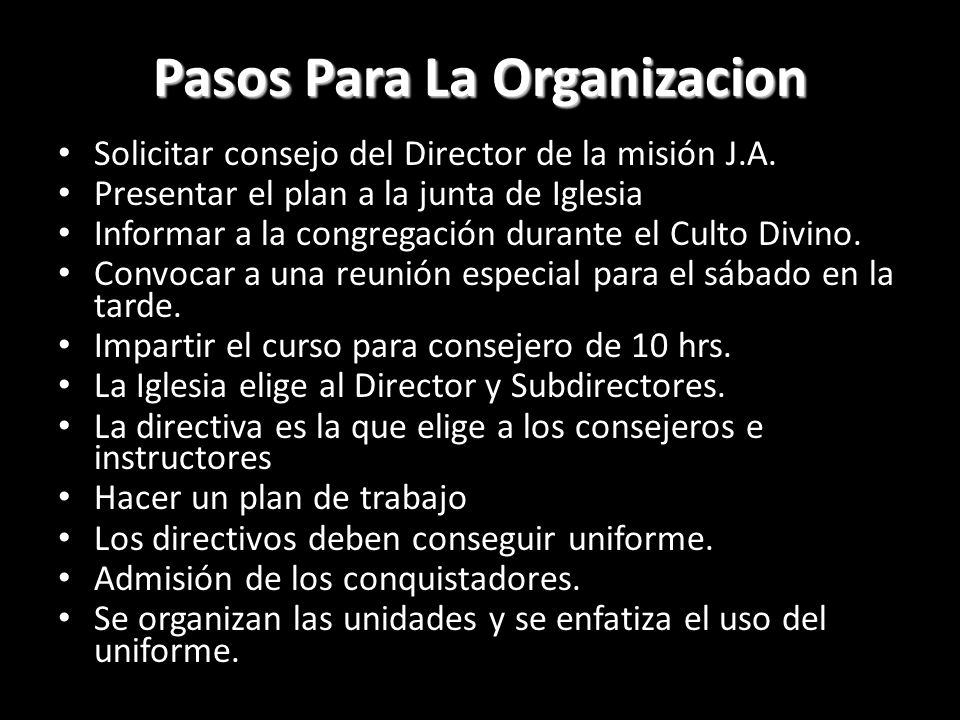 Pasos Para La Organizacion