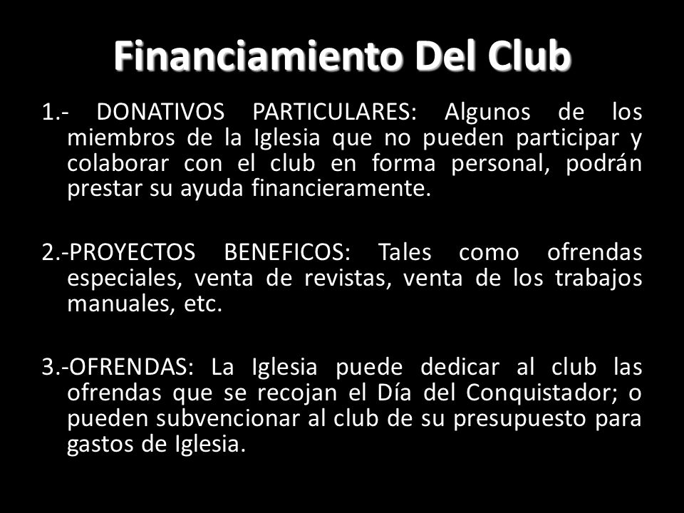 Financiamiento Del Club