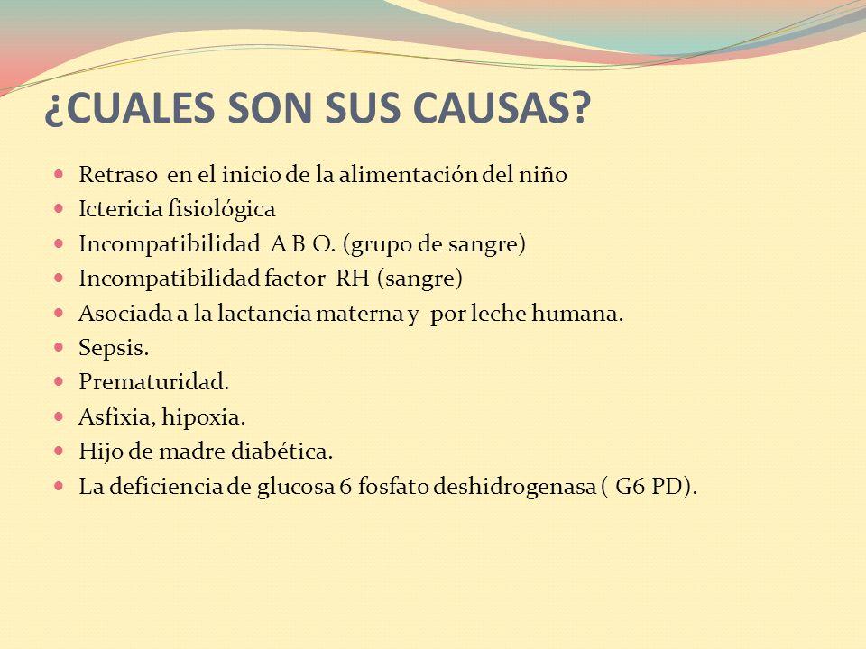 ¿CUALES SON SUS CAUSAS Retraso en el inicio de la alimentación del niño. Ictericia fisiológica. Incompatibilidad A B O. (grupo de sangre)