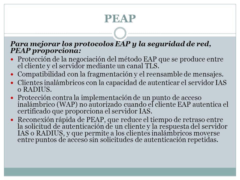 PEAP Para mejorar los protocolos EAP y la seguridad de red, PEAP proporciona: