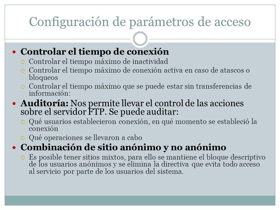 Configuración de parámetros de acceso