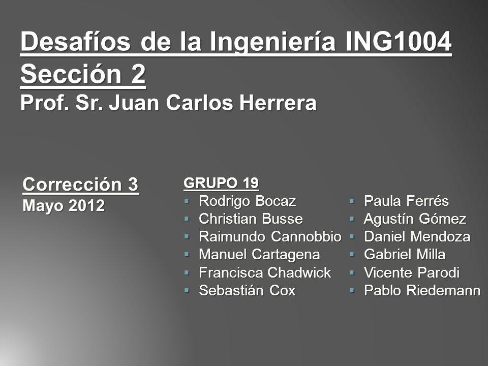 Desafíos de la Ingeniería ING1004 Sección 2 Prof. Sr