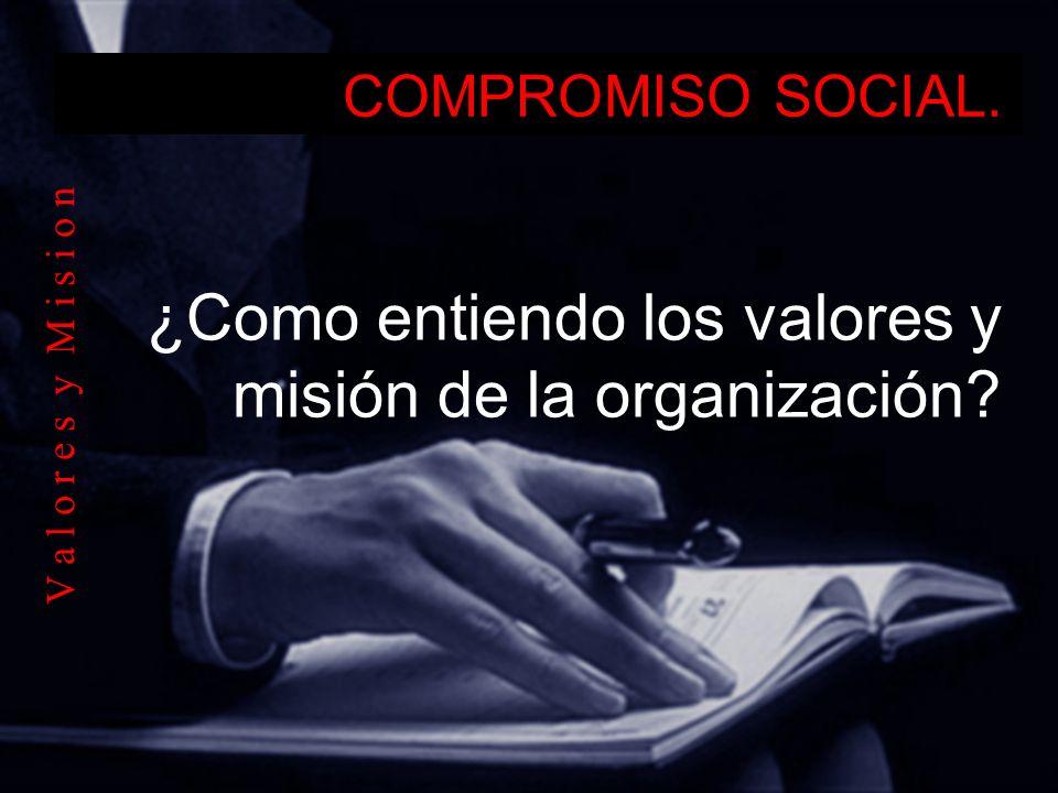 ¿Como entiendo los valores y misión de la organización