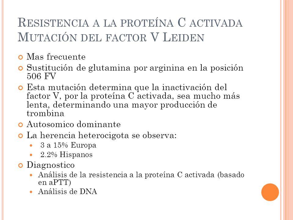 Resistencia a la proteína C activada Mutación del factor V Leiden