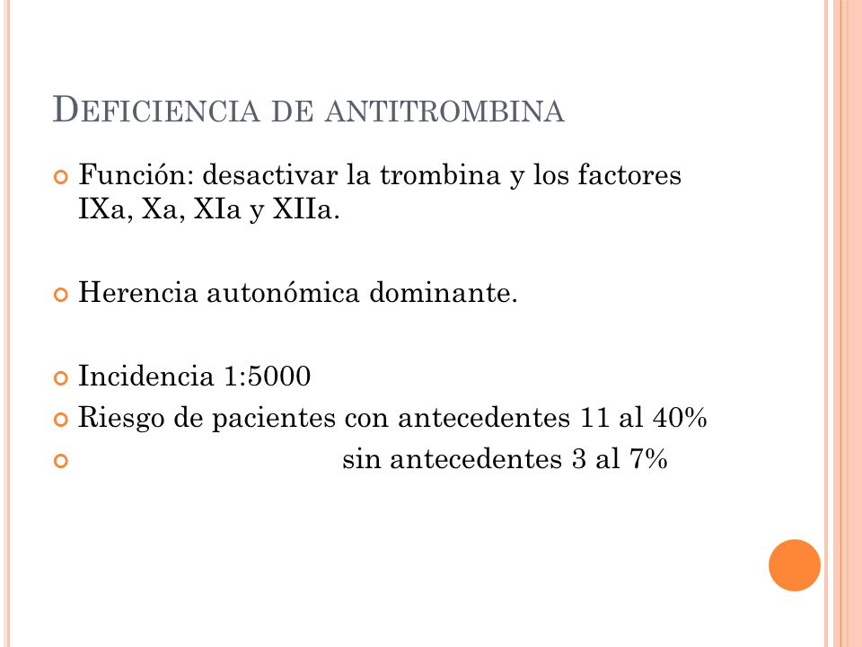 Deficiencia de antitrombina