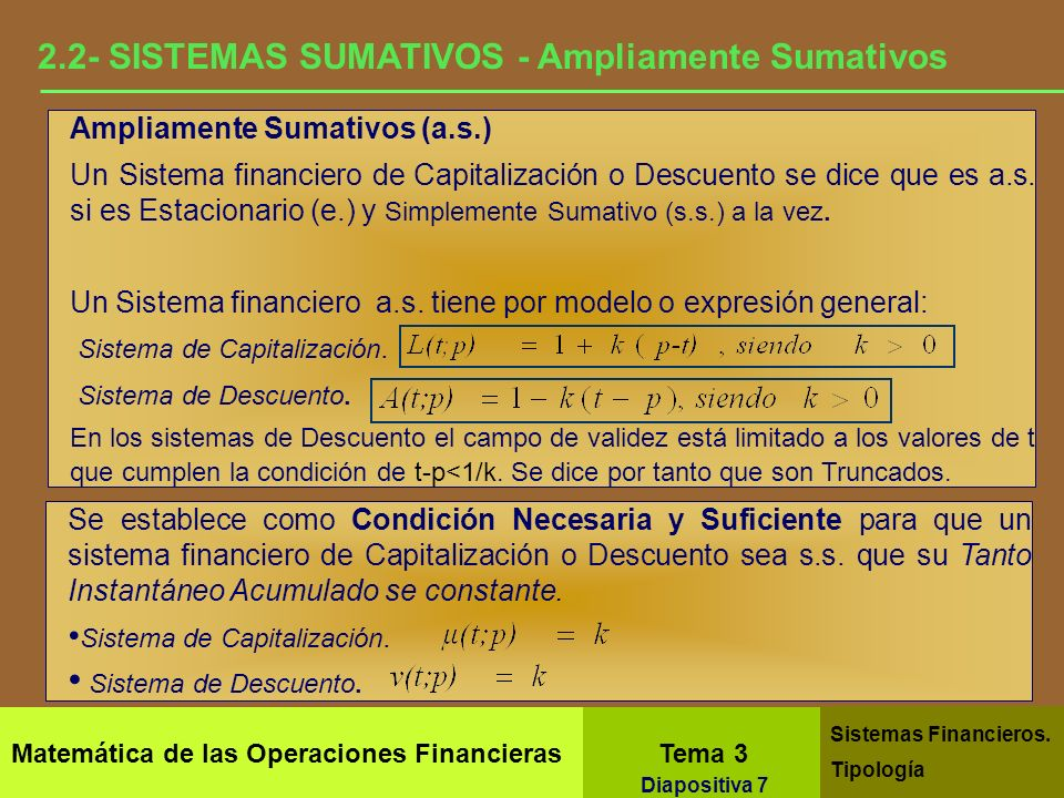 2.2- SISTEMAS SUMATIVOS - Ampliamente Sumativos