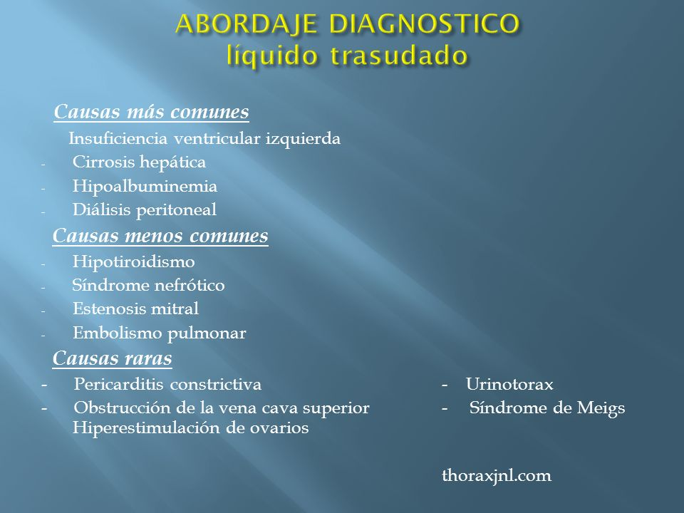 ABORDAJE DIAGNOSTICO líquido trasudado