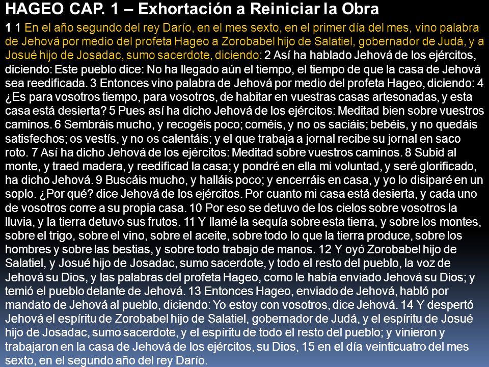 HAGEO CAP. 1 – Exhortación a Reiniciar la Obra