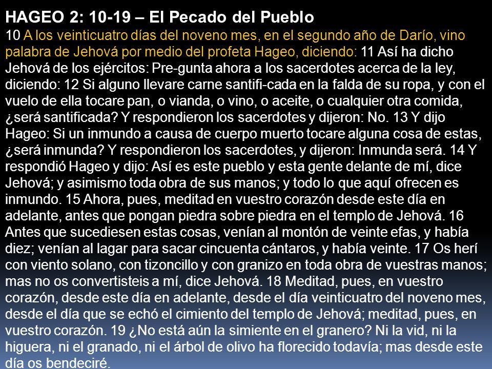 HAGEO 2: 10-19 – El Pecado del Pueblo