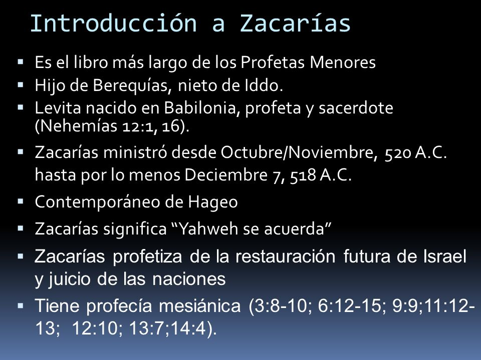 Introducción a Zacarías