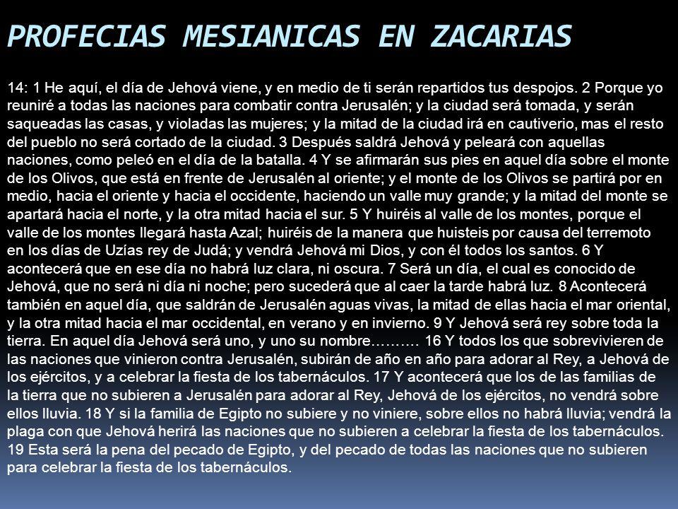 PROFECIAS MESIANICAS EN ZACARIAS