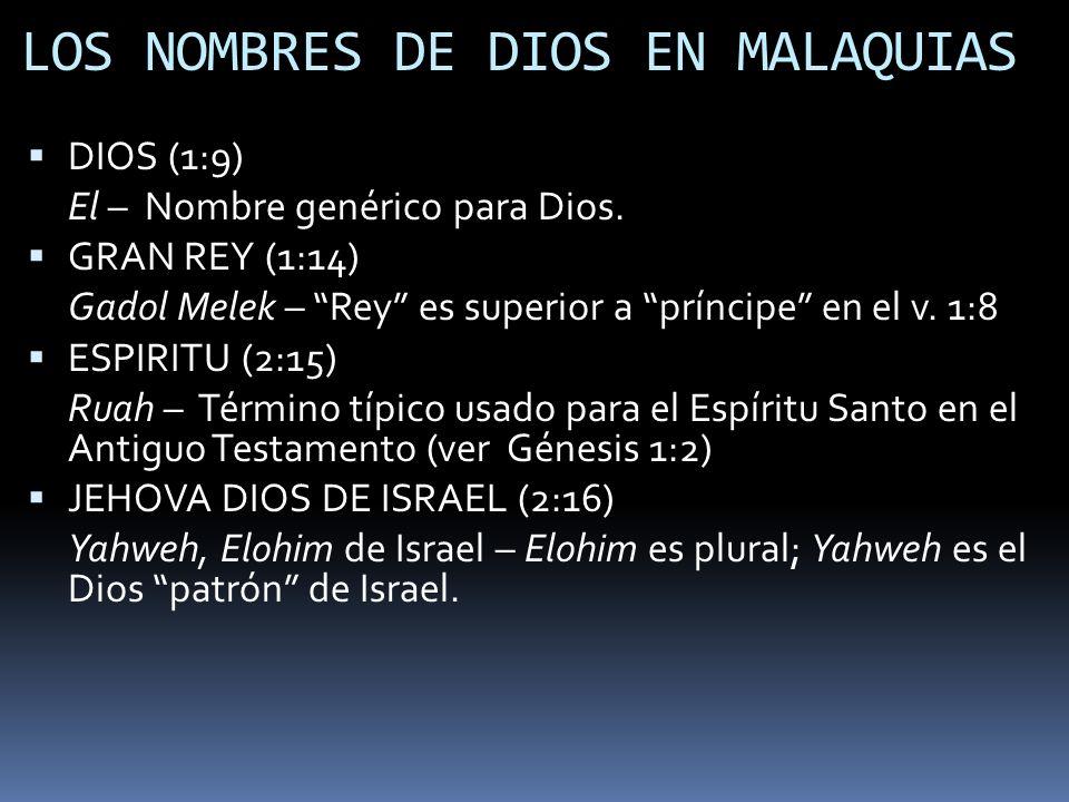 LOS NOMBRES DE DIOS EN MALAQUIAS