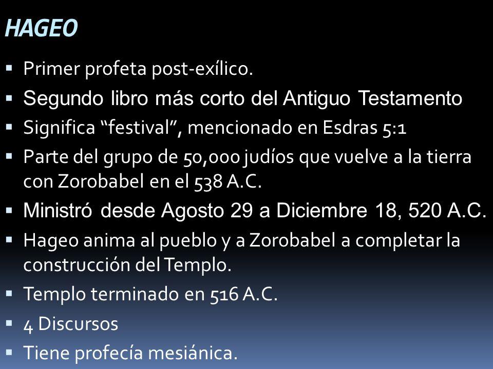 HAGEO Primer profeta post-exílico.