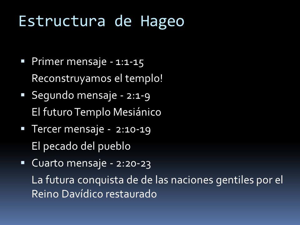 Estructura de Hageo Primer mensaje - 1:1-15 Reconstruyamos el templo!