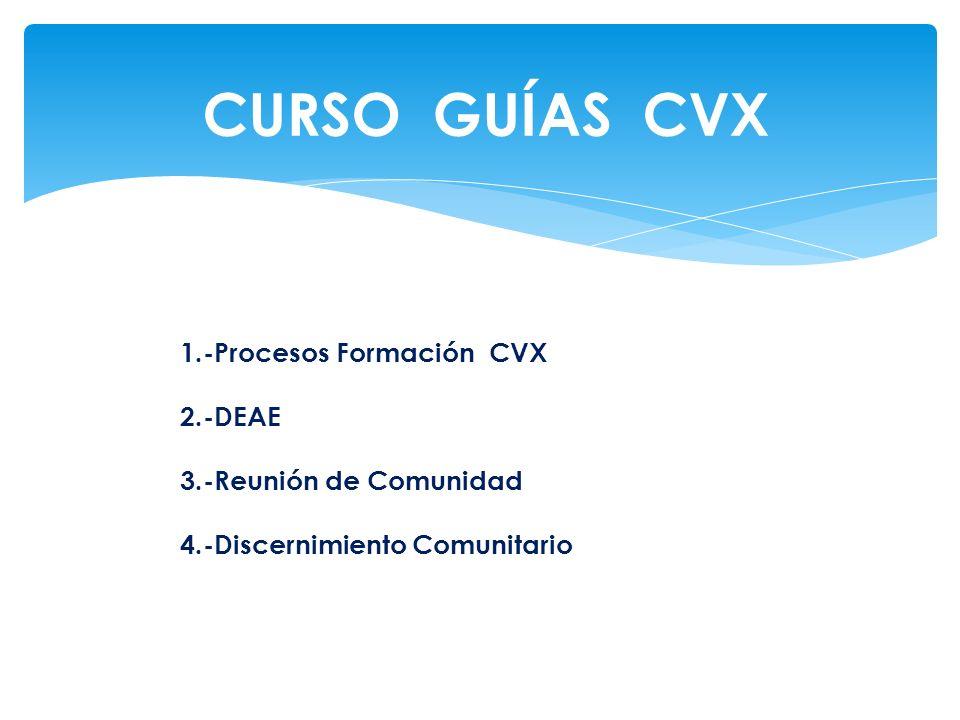 CURSO GUÍAS CVX 1.-Procesos Formación CVX 2.-DEAE 3.-Reunión de Comunidad 4.-Discernimiento Comunitario.