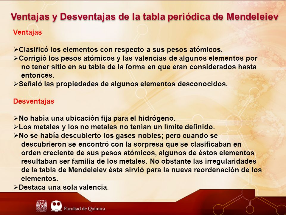 Ventajas y Desventajas de la tabla periódica de Mendeleiev