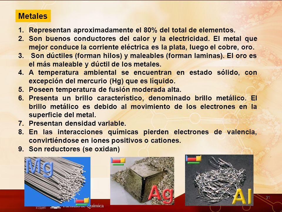 Metales Representan aproximadamente el 80% del total de elementos.