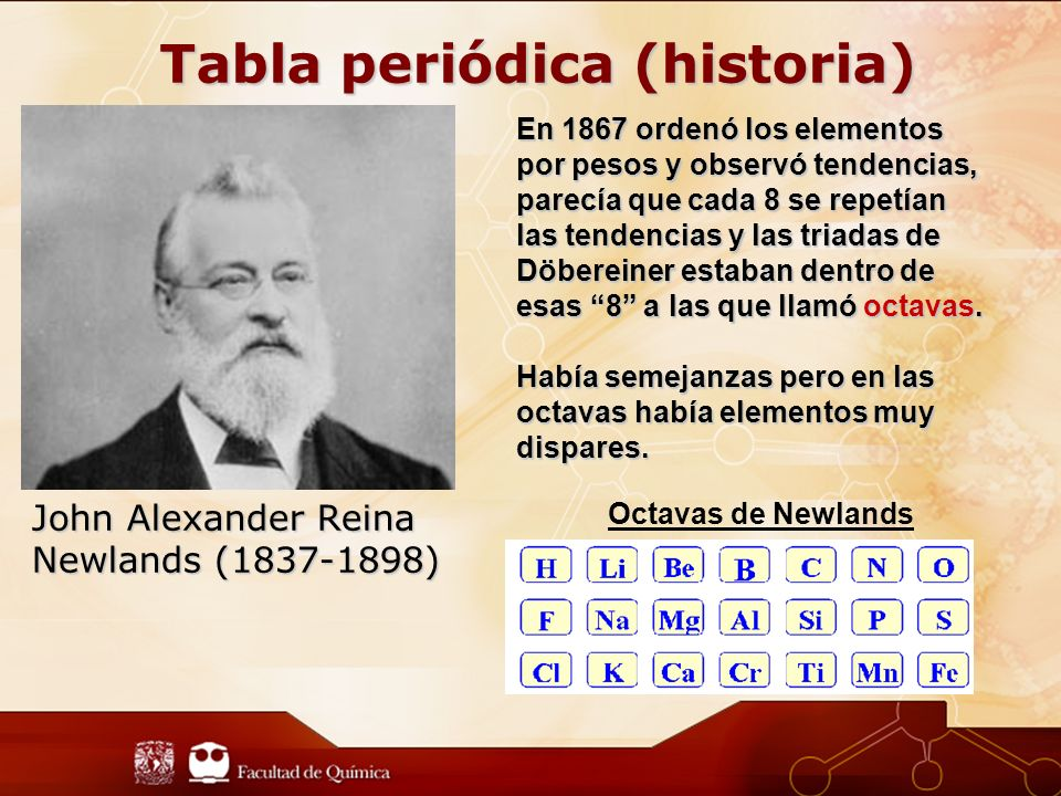 tabla periodica john alexander reina newlands - Tabla Periodica Newlands