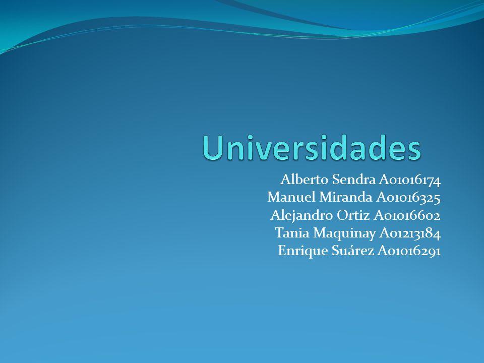 Universidades Alberto Sendra A01016174 Manuel Miranda A01016325