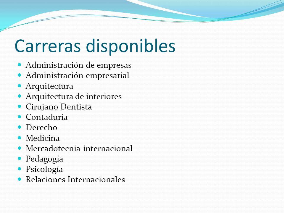Carreras disponibles Administración de empresas