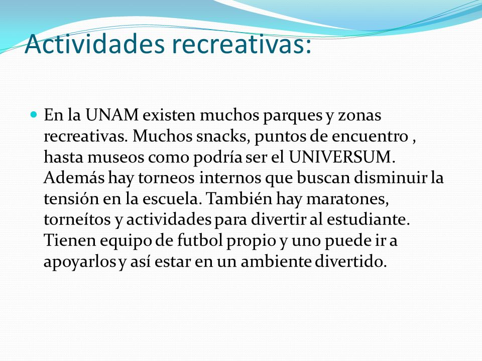Actividades recreativas: