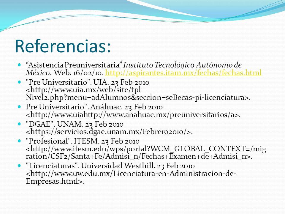 Referencias: Asistencia Preuniversitaria Instituto Tecnológico Autónomo de México. Web. 16/02/10. http://aspirantes.itam.mx/fechas/fechas.html.