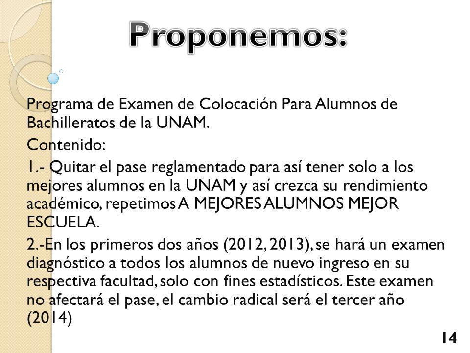 Proponemos: Programa de Examen de Colocación Para Alumnos de Bachilleratos de la UNAM. Contenido: