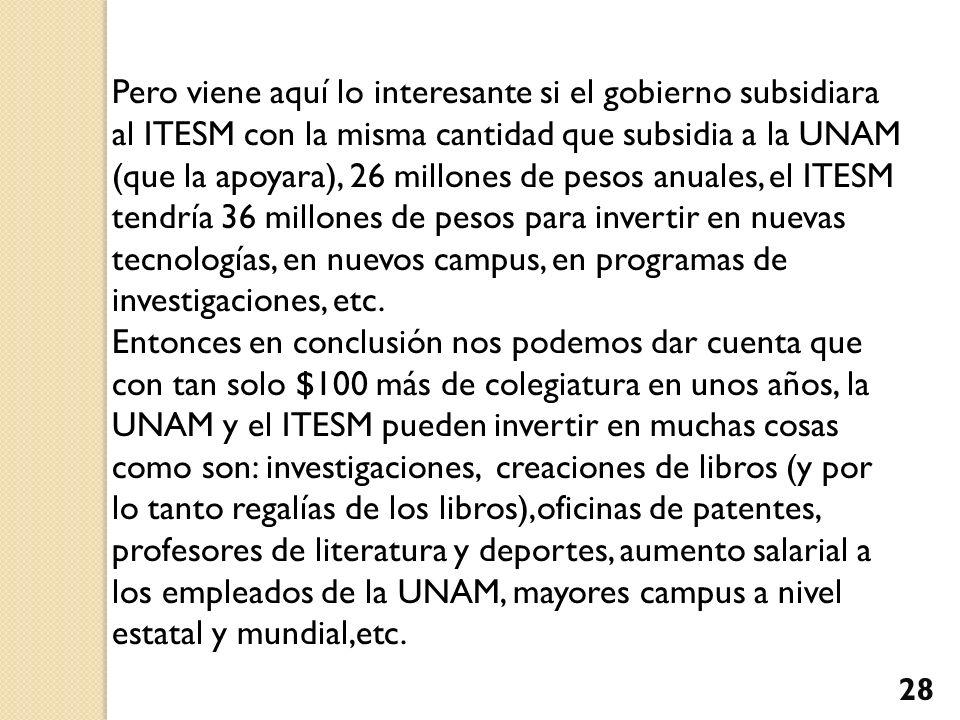 Pero viene aquí lo interesante si el gobierno subsidiara al ITESM con la misma cantidad que subsidia a la UNAM (que la apoyara), 26 millones de pesos anuales, el ITESM tendría 36 millones de pesos para invertir en nuevas tecnologías, en nuevos campus, en programas de investigaciones, etc.