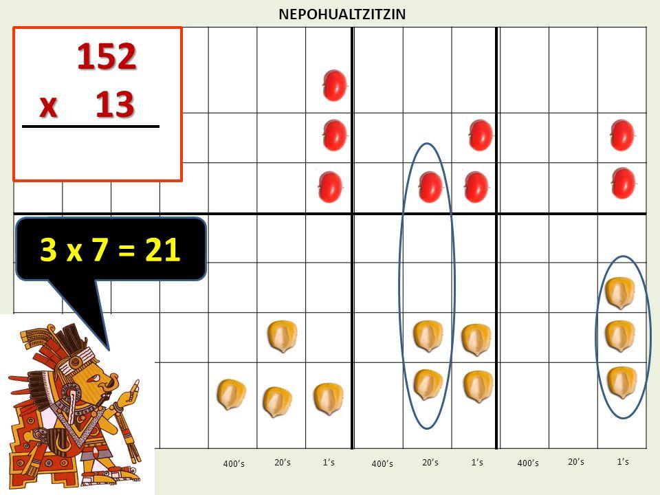 152 x 13 3 x 7 = 21 NEPOHUALTZITZIN 1's 1's 400's 400's 20's 400's
