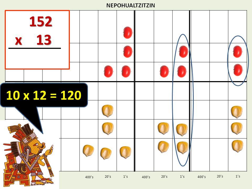 152 x 13 10 x 12 = 120 NEPOHUALTZITZIN 1's 1's 400's 400's 20's 400's