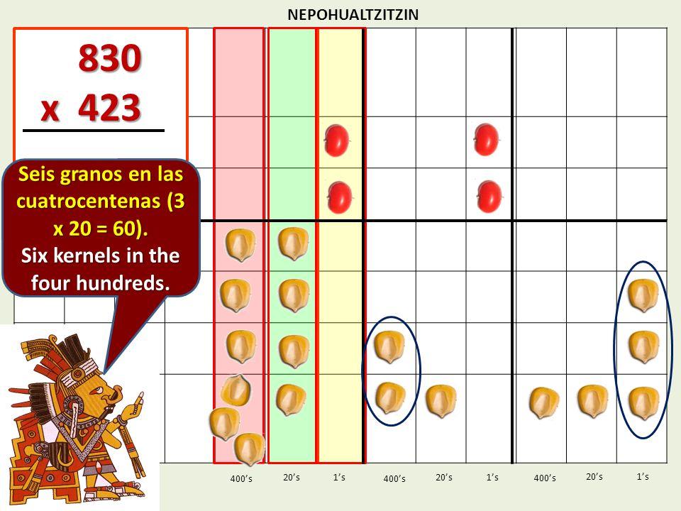 830 x 423 Seis granos en las cuatrocentenas (3 x 20 = 60).