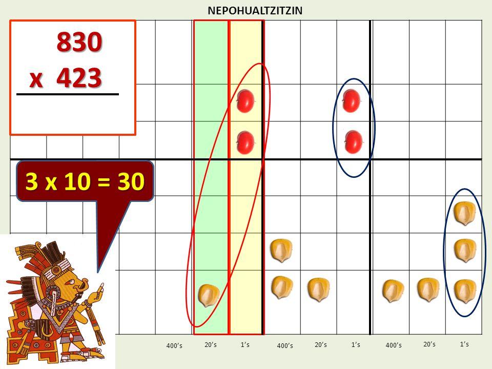 830 x 423 3 x 10 = 30 NEPOHUALTZITZIN 1's 1's 400's 400's 20's 400's